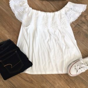 Off the shoulder white knit lace top